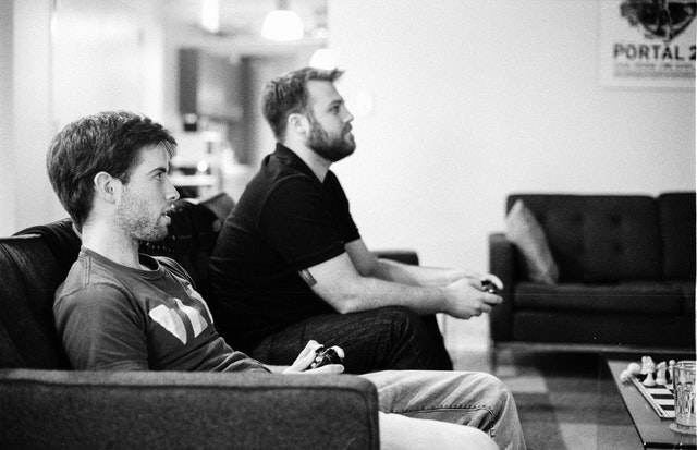 Cory and Jake playing video games.