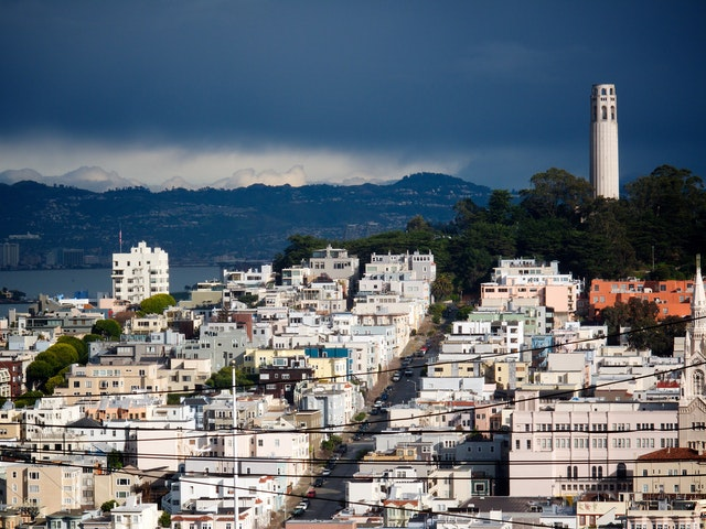 Coit Tower & Telegraph Hill, from Hyde & Filbert streets.