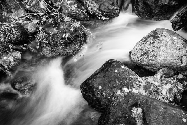 Taggart Creek flowing over some rocks.
