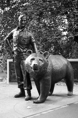 Wojtek the Soldier Bear Memorial in Princes Street Gardens, Edinburgh.
