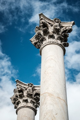 Two of the National Capitol Columns at the United States National Arboretum in Washington, DC.