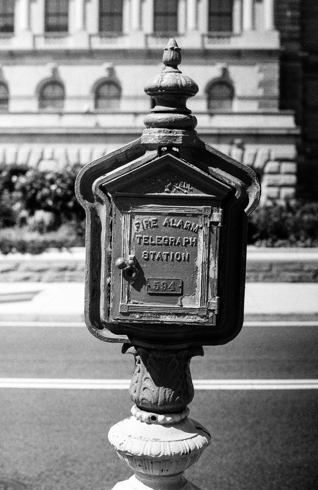 An old fire alarm and telegraph station behind the Library of Congress in Washington, DC.