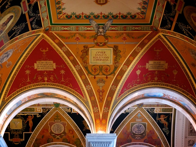 Details of the ceiling of the Library of Congress.