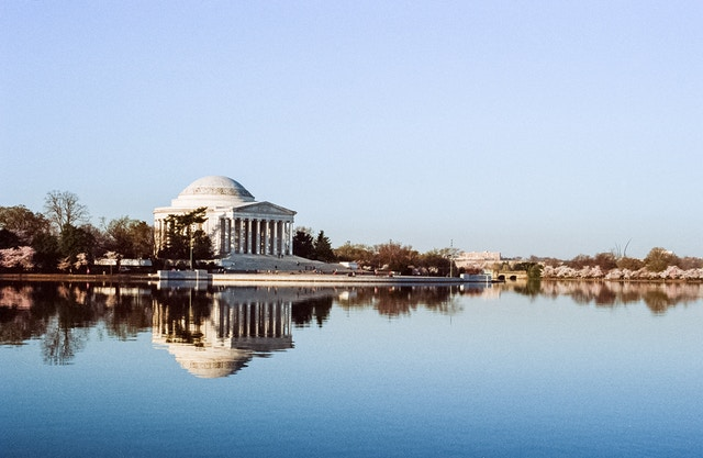 The Jefferson Memorial across the Tidal Basin during this year's Cherry Blossom Festival.