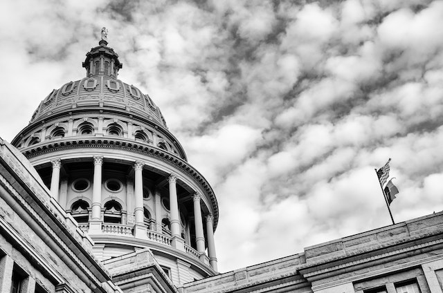 The Texas State Capitol, in black & white.