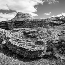 A huge calcified boulder in front of Soda Butte, in the Lamar Valley.