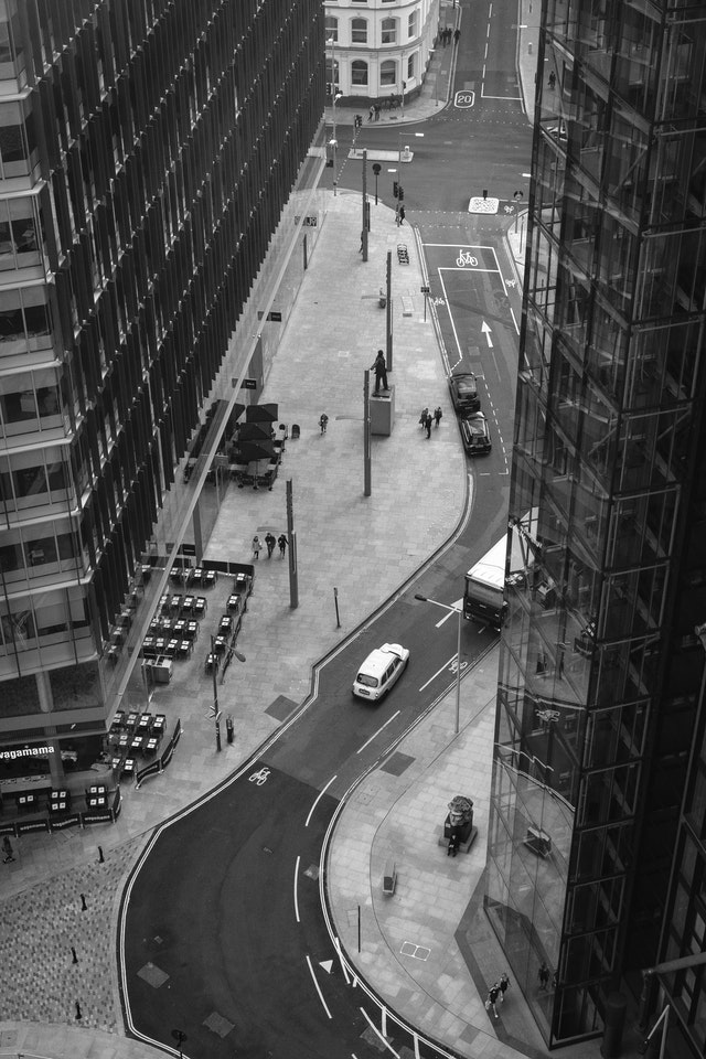 A curving street in Bankside, from the observation deck of Tate Modern.