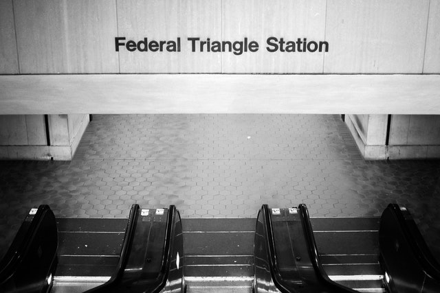 The entrance to Federal Triangle Metro Station.