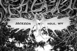 """""""Jackson Hole, WY"""" written on moose antlers at Jackson's Town Square, under an arch made of elk antlers."""