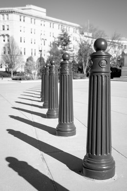 Poles in front of the Supreme Court Building.