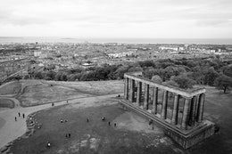 The Scottish National Monument, from the top of the Nelson Monument on Calton Hill.