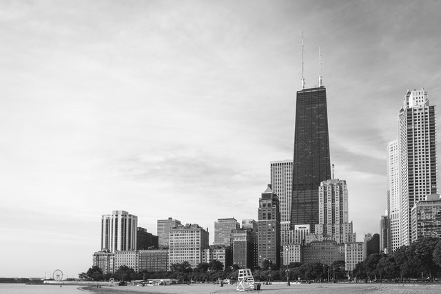 View of the Chicago skyline from the Oak Street Beach.