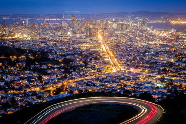 Downtown San Francisco from Twin Peaks at dusk.