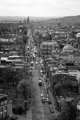 View of Princes Street in Edinburgh, from the top of the Nelson Monument on Calton Hill.