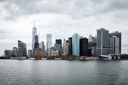 The skyline of downtown Manhattan, from the Staten Island Ferry.