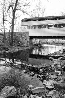 The ca. 1865 covered bridge over Valley Creek, at Valley Forge.