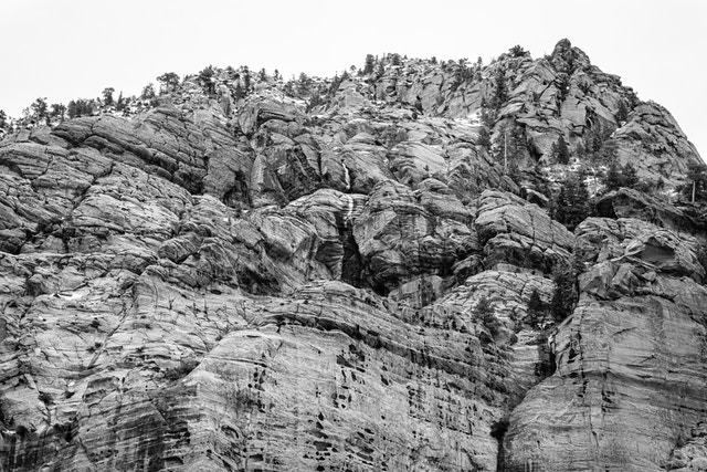 A close-up of the rocky wall of Beatty Point in Kolob Canyons.