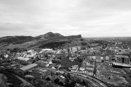 Arthur's Seat, as seen from the top of the Nelson Monument on Calton Hill, Edinburgh.