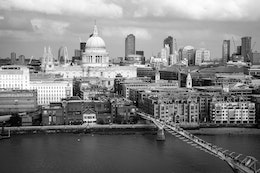 St. Paul's Cathedral and the Millennium Bridge, from the observation deck of Tate Modern.
