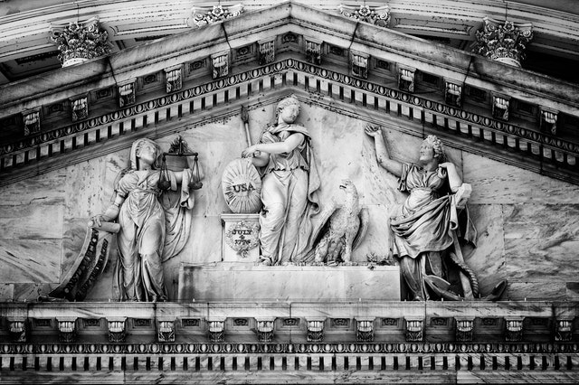 Detail of Genius of America, the pediment above the east entrance of the U.S. Capitol.