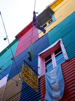 A colorful wall in Caminito.