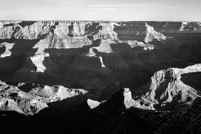 The Grand Canyon, seen in morning sunlight from Pipe Creek Vista.