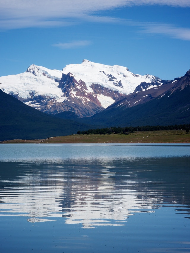 Mountains reflected in the Lago Roca, Santa Cruz Province, Argentina.