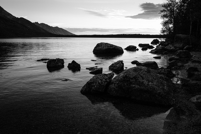 Boulders on the shore of Jenny Lake, at dawn.