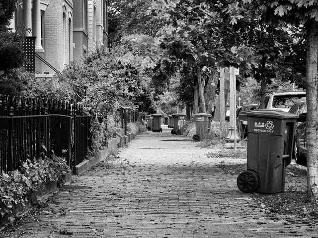 Trash cans on a street in Capitol Hill.