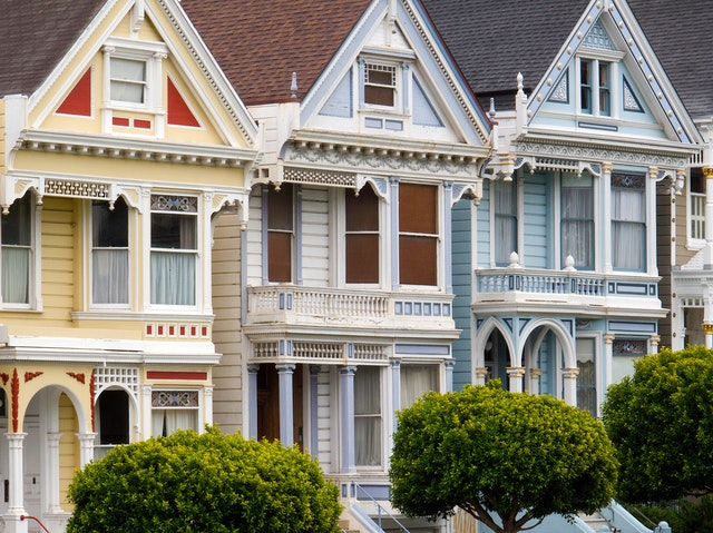 Painted Ladies on Steiner Street, across from Alamo Square in San Francisco.