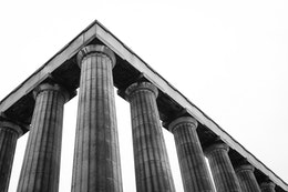The Scottish National Monument atop Calton Hill in Edinburgh.
