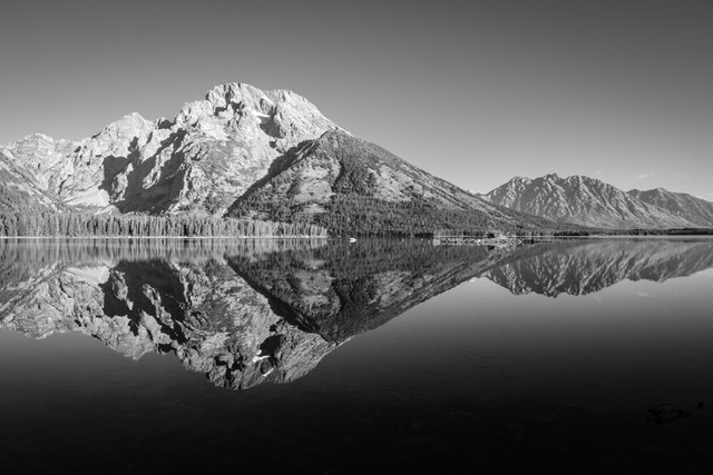 Mount Moran reflected in the waters of Leigh Lake.