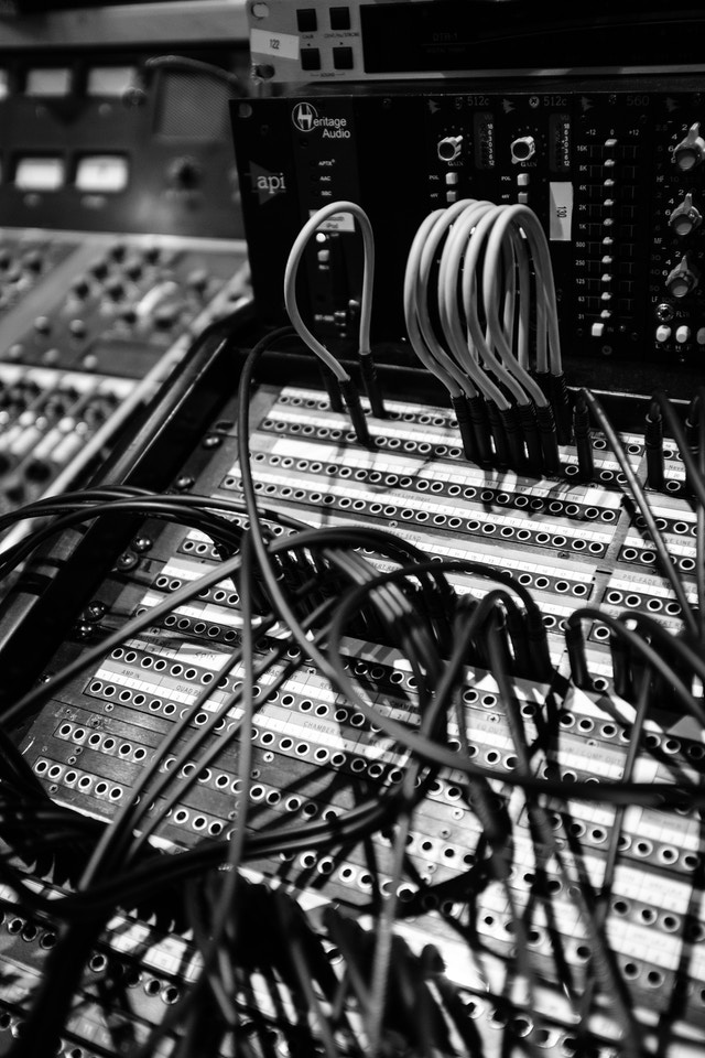 A bunch of cables plugged into a recording console at London Bridge Studio in Shoreline, Washington.