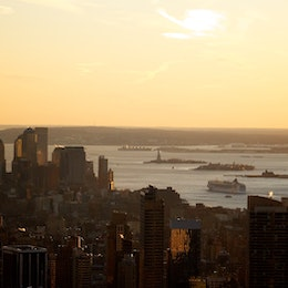 The New York harbor at sunset, from the Top of the Rock.
