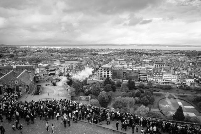 Tourists lined up to see the firing of the One O'Clock Gun at Edinburgh Castle.