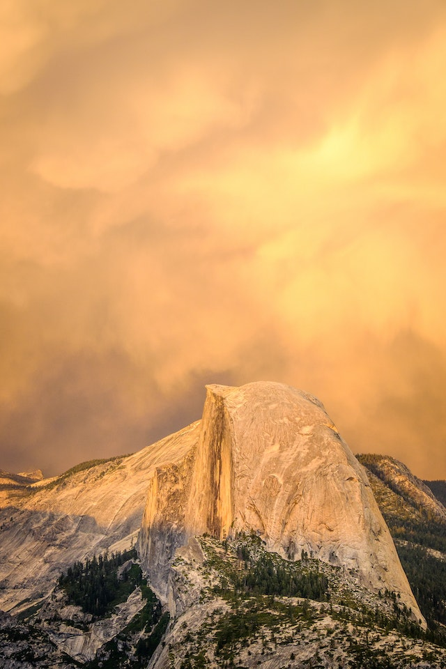 Half Dome at sunset, from Glacier Point.