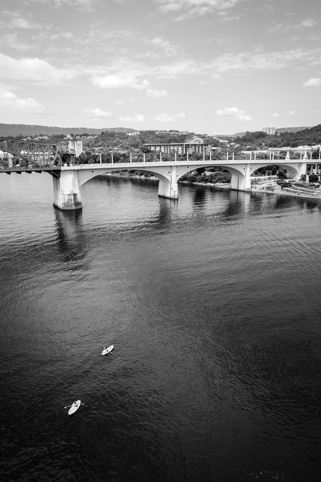 Paddle boarders on the Tennessee River, in front of the John Ross Bridge.