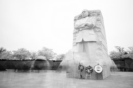 The Martin Luther King Jr. Memorial surrounded by blossoming cherry trees and crowds of people.