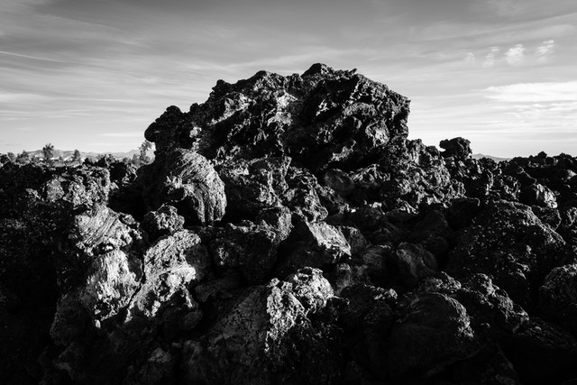 A jagged piece of ʻaʻa lava along the Cave Area trail.