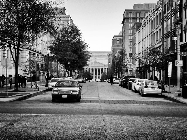 Looking at the National Archives from the steps of the National Portrait Gallery, on 8th St. NW.