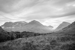 View of Glen Coe from the Glencoe Visitor Center.