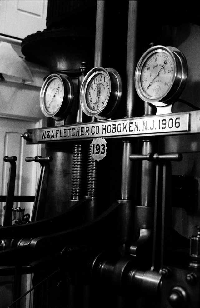 Steam gauges at the steamship Ticonderoga at the Shelburne Museum, Vermont.
