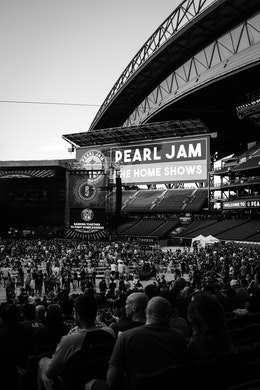The stage of the Pearl Jam concert at Safeco Field, before the show started.