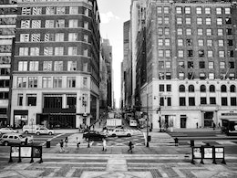 Fifth Avenue from the steps of the New York Public Library.