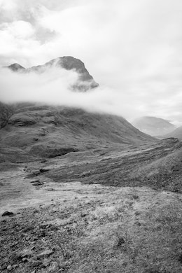 Clouds rolling through the mountains in Glen Coe.
