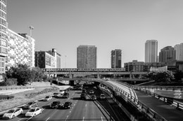 The Kennedy Expressway, looking north from West Randolph Street.