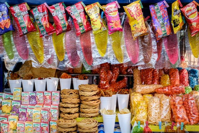 A huge variety of snacks for sale at a stand in the Chapultepec Forest.