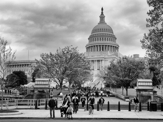 The United States Capitol Building, full of tourists.