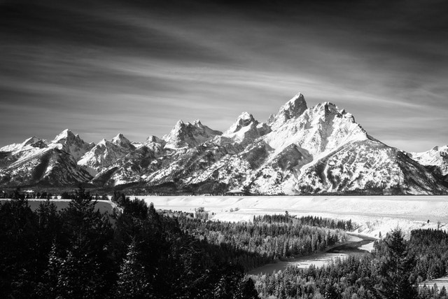 The Tetons and the Snake River in winter, from the Snake River Overlook.