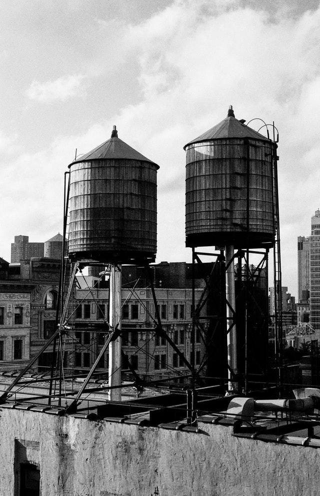 Water tanks on rooftops in New York City.